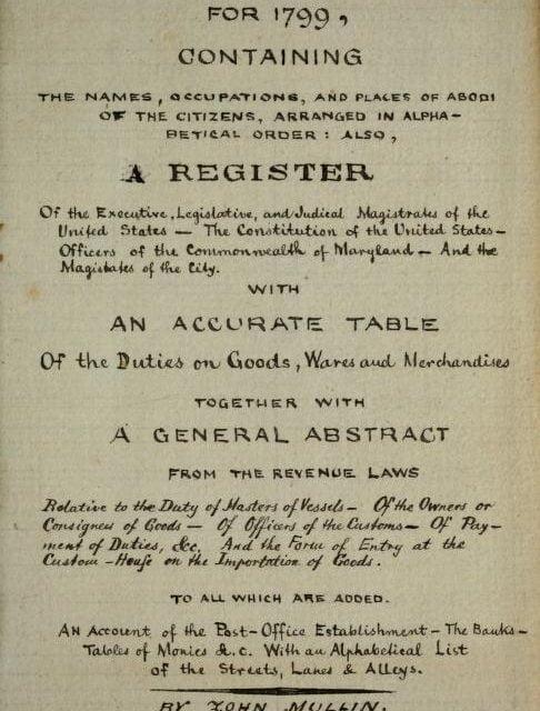 Baltimore Maryland City Directories 1799-1946