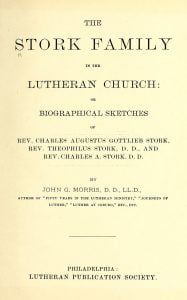 Title page to the Stork Family in the Lutheran Church. Click on image to read manuscript.