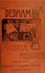Dedham Historical Register vol 1