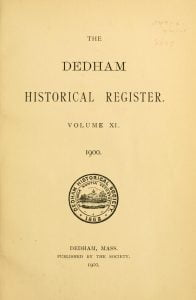 Dedham Historical Register vol 11