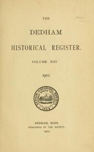 Dedham Historical Register vol 13