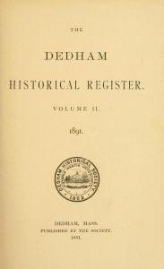 Dedham Historical Register vol 2