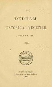 Dedham Historical Register vol 3