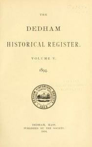Dedham Historical Register vol 5