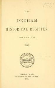 Dedham Historical Register vol 7
