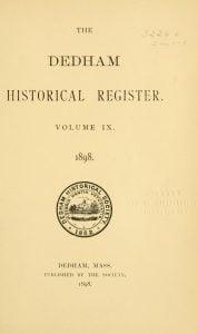 Dedham Historical Register vol 9