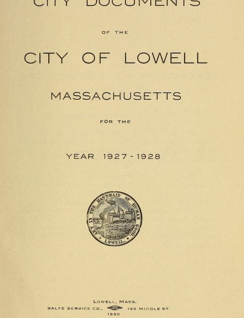 Lowell Massachusetts Annual Reports 1862-1928