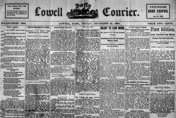 Lowell Massachusetts Newspaper Archives 1837-1893
