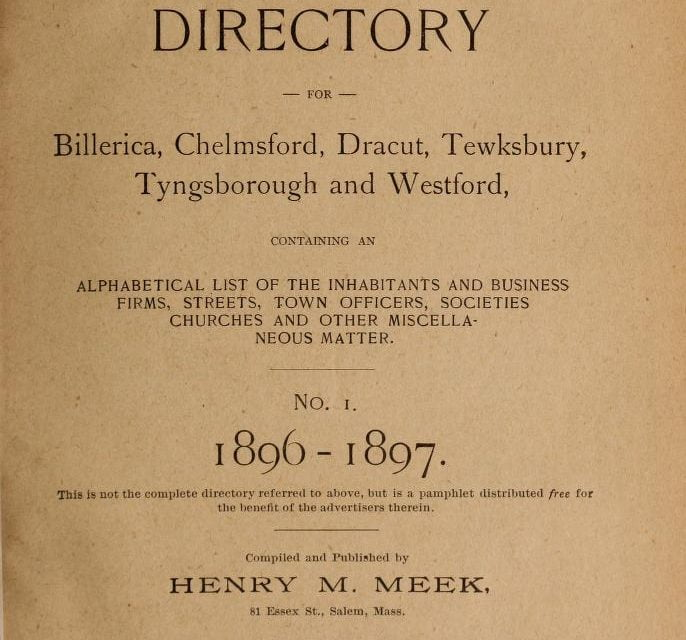 Lowell Massachusetts Suburban Directories 1896-1926