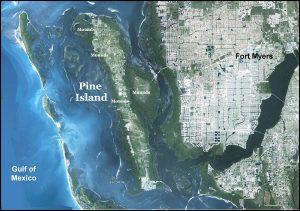 Satellite image of Pine Island Florida
