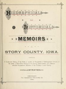Title Page for Biographical and Historical Memoirs of Story County, Iowa