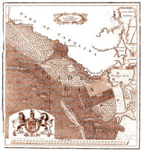 "This map shows what is labeled the ""County of Savannah"" and is commonly attributed to having been prepared in 1740 in conjunction with the Trustees creating the ""County of Savannah"" in 1741. However, stronger evidence suggests that the map was based on a sketch James Oglethorpe carried to England in 1734 and was subsequently published in a 1735 report on Georgia's Salzburger immigrants. T. F. Lotter, ""A Map of the County of Savannah,"" 1735"