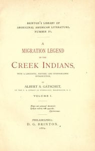 A Migration Legend of the Creek Indians title page