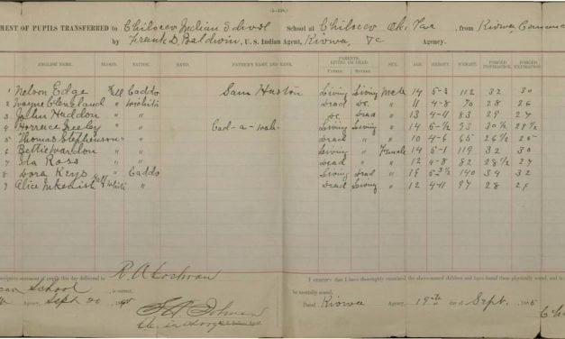 Children Transferred to Chilocco School, 1885-1902